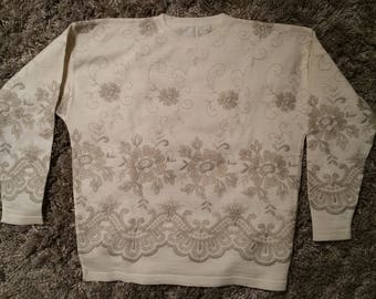Hand Knit Embroidered Merino Wool Sweater - NWOT