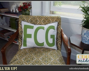 FILL'ER UP Large Applique Monogram Pillow Cover - 16 x 20