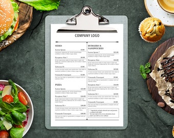 Table Menu Template Style and Neat Design - Restaurant Menu, Cafe Menu, Editable Menu Template, Printable Menu