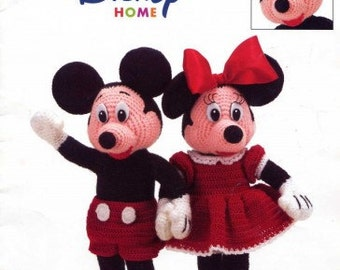 boy girl crochet pattern for disney mickey and mini  mouse toy 12 inches  dk and 4ply  wool pdf