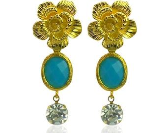 Long Turquoise earrings, Gold daisy flower earrings UK, Gold statement earrings, Gifts for girlfriend, Gold bridal earrings for women