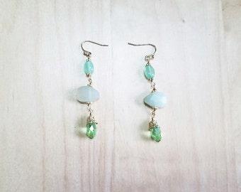 Green Jade, Resin and Crystal Drop Earrings