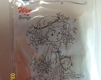 Whimsy mounted rubber stamp: Rose and Felix
