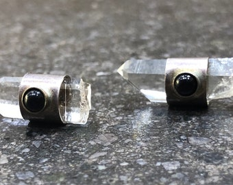 Raw Quartz & Black Onyx Earrings