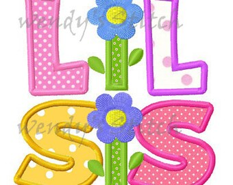 Lil Sister applique machine embroidery design digital pattern