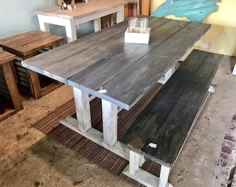 Rustic Pedestal Farmhouse Table With Long Bench Charcoal  Gray with White Distressed Base Dining Set