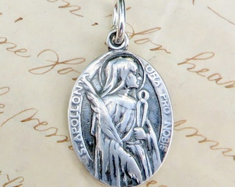 St Apollonia Medal - Patron of dentists - Sterling Silver Antique Replica
