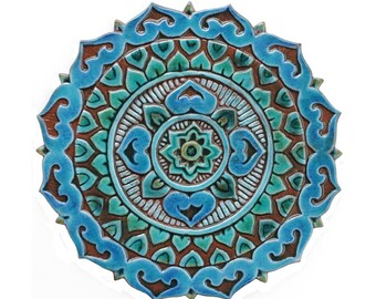 Mandala wall hanging, Mandala tile garden art, Mandala Wall art, Mandala garden decor, turquoise 28cm