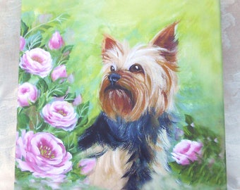 Yorkshire Terrier Print on Canvas ~ 8x8 Inches ~ May Birthday ~ Yorkie Owner Print ~ Pet Keepsake