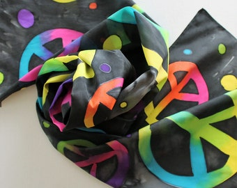 Hand Painted Silk Scarf - Handpainted Peace Sign Black Rainbow Bright Hippie Pink Blue Yellow Lime Purple Orange Spring Summer Scarves