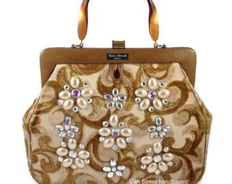 Cari Street handbags - Tapestry Handbag - Kelly Handbag - Embellished Handbag - Designer Handbag - Chenille Handbag - Carpet  Bag