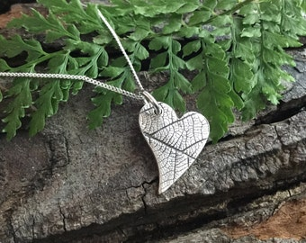 heart necklace, silver heart, love heart, leaf print, heart pendant, silver heart necklace, heart jewelry, gift for her, bridesmaid gift