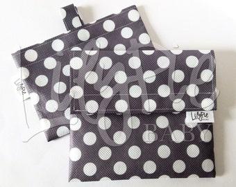 Reusable Sandwich Bag & Reusable Snack Bag Set in GRAY W/DOTS print - Eco friendly - Food Safe - Dishwasher Safe - Back to School