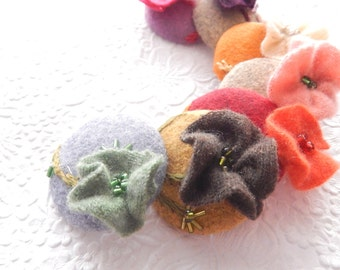 Cashmere wool beaded embroidered floral buttons, price per button, 1 7/8 inches, 1.9 inches, 4.7 cm, 48.26 mm, size 75 buttons