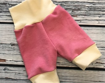 Wool Interlock Shorties - Large - Pink - Cuffed - Hand Dyed