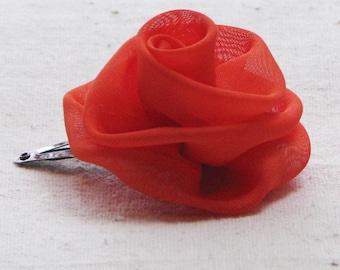 Rose hair clip, in bright persimmon orange fabric, small