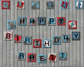 Robot Party HAPPY BIRTHDAY Banner Plus Robot Pictures Instant Digital Download