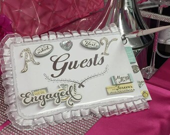 Wedding Engagement Guest Book with Rhinestone Letters Choose Letter