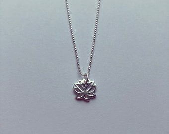 Sterling Silver Lotus Leaf Charm Necklace