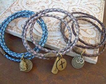 Leather Bracelets Mens Bracelets Leather Leather Bracelets for Men and Women Om Cross Buddha Lotus Braided Leather Charm Bracelet