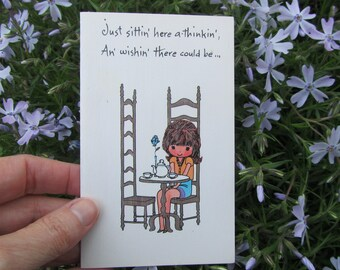 Vintage Thinking of You Card Rero 70s Girl Pot of Tea Illustration