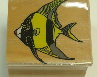 Angelfish Wood Mounted Rubber Stamp