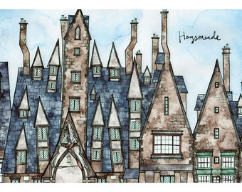 HOGSMEADE VILLAGE Print 8x12 Ink and Watercolor Painting
