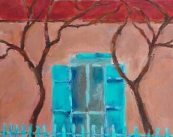 Original Oil Painting Landscape Sante Fe New Mexico CANYON ROAD Turquoise Adobe Building Southwest Honeystreasures California Artist USA