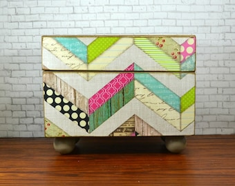 Decoupaged recipe box, kitchen storage with a multi-pattern chevron design, wedding card box or gift for the hostess