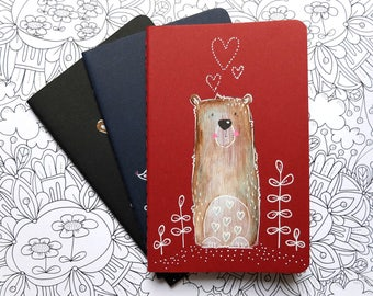 Teddy. Red. MOLESKINE® notebook. Hand painted journal. Unique gift. Traveler's journal. Midori. Notepad. Gift for her. Stationery week