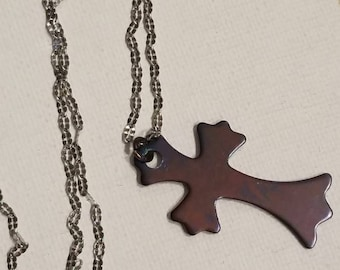 Classic Style Cross, Heat Treated Stainless Steel, 2 Sided Pendant Necklace, Blue and Pink Shades Heat Treated Colors, Unique Cross