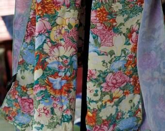 Ref: 120 Sale - Very long silk flower patterned Museum scarf.