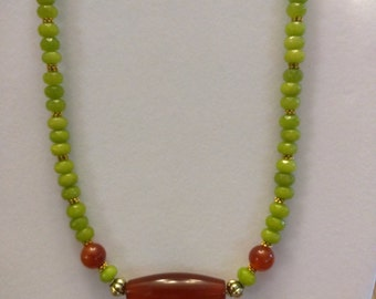 Gorgeous Green Jade and Carnelion Necklace