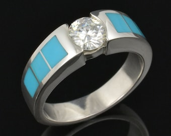 Turquoise Engagement Ring-  Moissanite and Turquoise Engagement Ring in Sterling Silver
