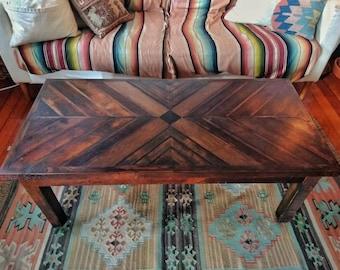 Handmade reclaimed wood coffee table with herringbone design / rustic coffee table