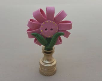 Button Flower Lamp Finial.... Hand Crafted in Custom Colors.