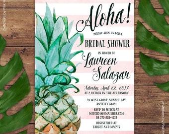 Pineapple Invitation, Bridal Shower Invitation, Aloha Luau Hawaiian Printable Invitation