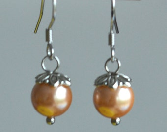 peach pearl earrings,8mm peach glass bead earrings,dangle peach pearl earrings,Wedding earrings, bridesmaid earrings,bride earrings