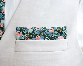 Pocket Square, Pocket Squares, Handkerchief, Mens Pocket Square, Boys Pocket Square, Floral Pocket Square, Rifle Paper Co - Rosa In Forest