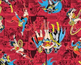 DC Comincs Immortals, Wonder Woman, Super Girl & Bat Woman comics in RED, yard