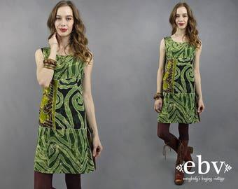 90s Mini Dress 90s Dress 1990s Dress Tribal Dress Festival Dress Summer Dress Green Dress Boho Dress 90s Batik Dress Hippie Dress S M L