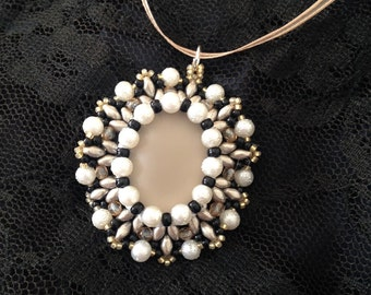 Beaded cabochon pendant soft touch