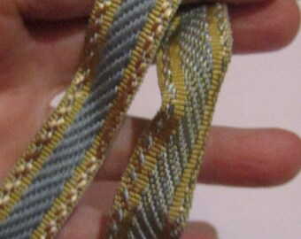 50cm of blue / gold woven ribbon 16mm wide