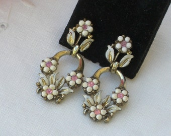 Earrings - Coro - White Beads - Pink Rhinestones - Flowers - Dangle Earrings - Clip On - Vintage