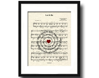 Let It Be Song Lyric Sheet Music Art Print, Let It Be Art Print, Spiral Song Lyric Art