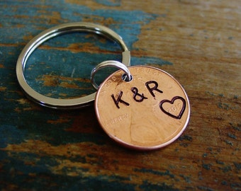 Stamped Penny Keychain, Year of Choice, Personalized, Hand Stamped, Couple Initials, Penny Key Chain, 1st Anniversary Gift, Husband Gift