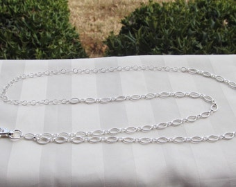 Sterling Silver Chain ID Badge Lanyard Medium Textured Oval Chain Links