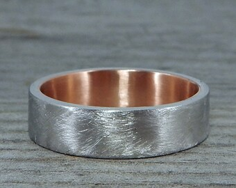 Palladium & Rose Gold Wedding Band - Recycled Metals, 6mm Wide, Matte/Brushed, Mens or Womens, Made to Order
