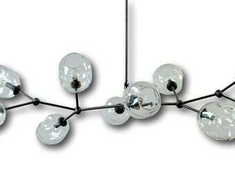 10 Globe Hand Blown Glass Staccato Branch Chandelier Hanging Light Sculpture