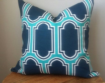 Designer Fabric indoor outdoor pillow cover boho modern navy blue aqua turquoise white modern geometric many sizes long lumbar moroccan